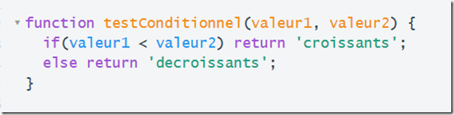 Zone de code JavaScript a modifier