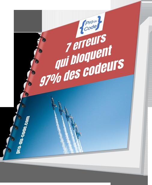 ProDuCode - couverture du guide des 7erreurs qui bloquent 97% des codeurs